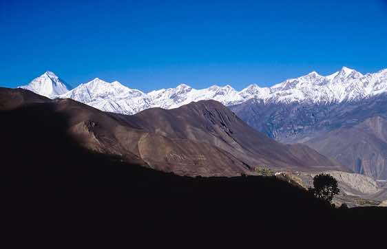 Jharkot, seen from below Muktinath, sits on a spur overlooking the barren valley
