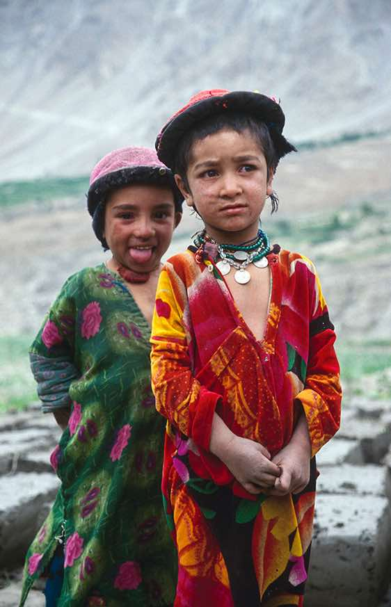 Girls in colourful dresses, Askole, Karakoram Mountains