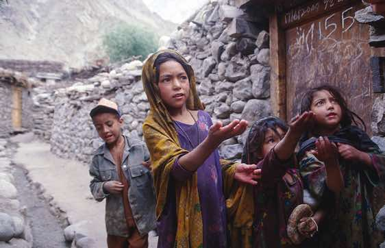 Children begging for sweets, Hushe, Karakoram Mountains
