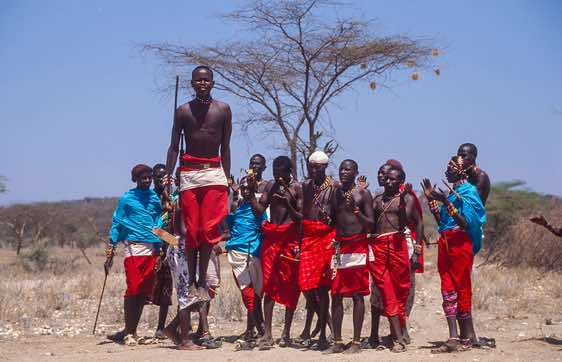 Samburu warriors performing a traditional dance