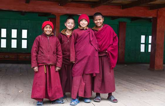 Young monks, Lho Gompa, Buri Gandaki Valley, Around Manaslu Trek, Nepal Himalaya