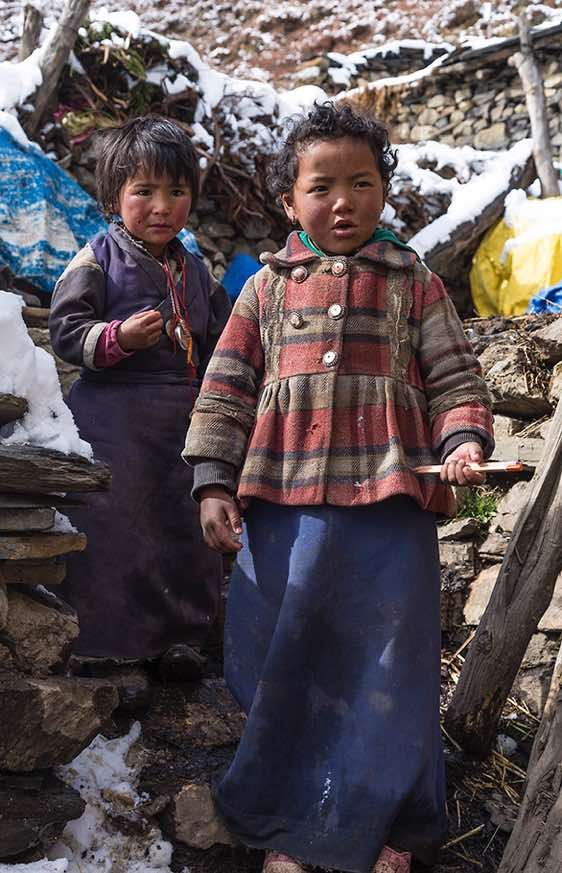 Young girls in Samdo, Buri Gandaki Valley, Around Manaslu Trek, Nepal Himalaya