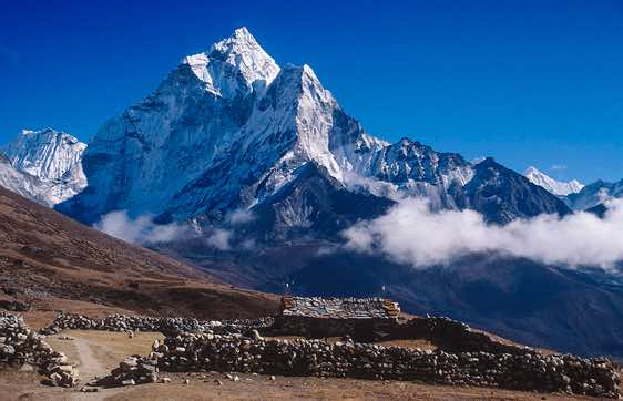 Cho Oyu, 8153m, seen from the crest of the glacier moraine, Gokyo Valley
